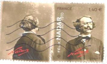 stamp france on a postcard