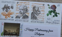 Belgium stamps on a postcard