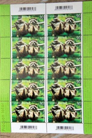 german stamps raccoons animal children