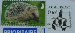 finnish stamps of a hedgehog and long-tailed ducks