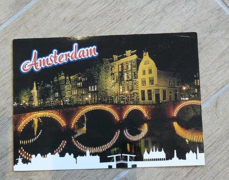 postcard Amsterdam night