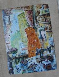 postcard drawing young seamstress