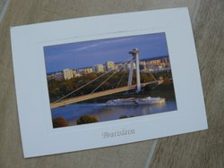 postcard Bratislava Slovakia with Danube bridge and UFO