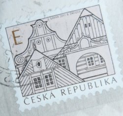 czech stamp with postmark