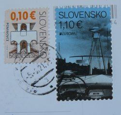 stamp slovakia shows danube bridge with UFO