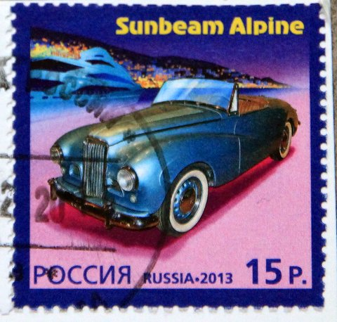 postage stamp Sunbeam Alpine Car