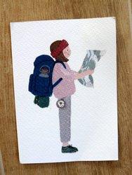 postcard girl on a hike