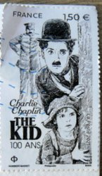 stamp from France Charlie Chaplin movie the Kid