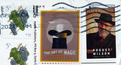 postage stamps USA art of magic and August wilson