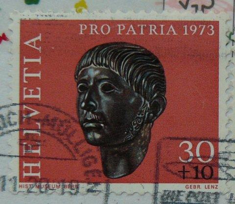 swiss Helvetica postage stamp pro patria 1973