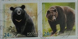 bear postage stamps Russia