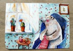 drawing postcard polar bear knits