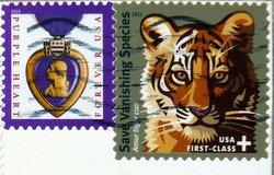 purple haert and tiger stamps USA