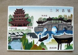 Postcard drawing old Dalian city China