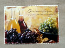 postcard finland grapevines and carafes of wine