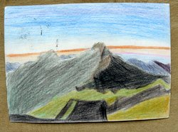 postcard self painted picture mountains