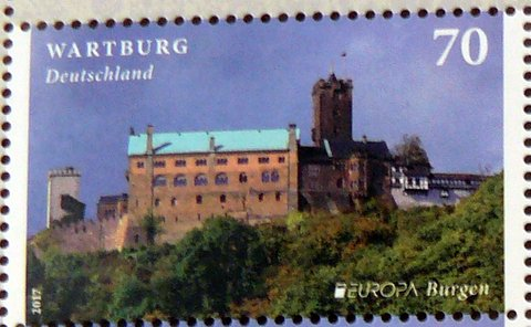 castle wartburg Germany postage stamp world heritage site