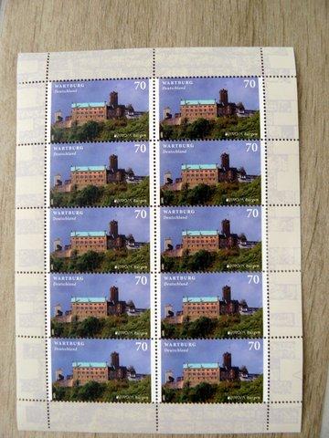 post stamp pad castle Wartburg Germany postage stamp world heritage site