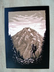postcard drawing mountain hiker