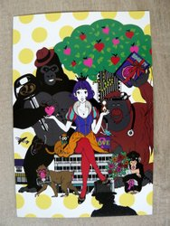 postcard japan drawing monkeys
