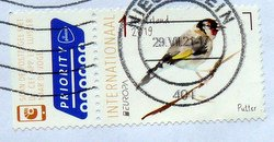 Bird Goldfinch postage stamp from the Netherlands