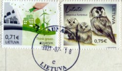 Lithuania postage stamps with postmark