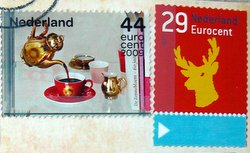 two postage stamps Netherlands coffee pot