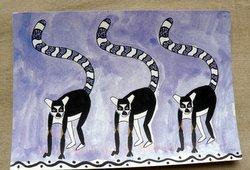 Lemur Catta Drawing postcard