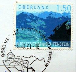 lichtenstein postage stamp with postmark